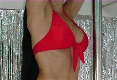 Halter Top L/XL Red Tie Front Made in USA