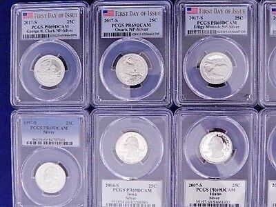 (20) Pcgs Graded Silver Quarters - (19) State , (1) Washington - No Reserve !