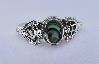 Sterling  Silver  (925)   Abalone   Shell   Design  Ring   !!   Brand  New  !!