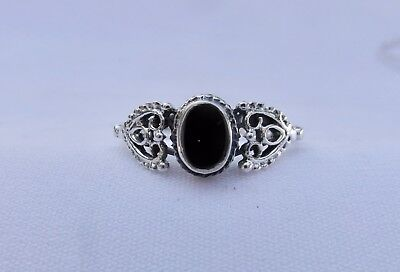 Sterling  Silver  (925)   Black   Stone   Ring   !!       Brand  New  !!