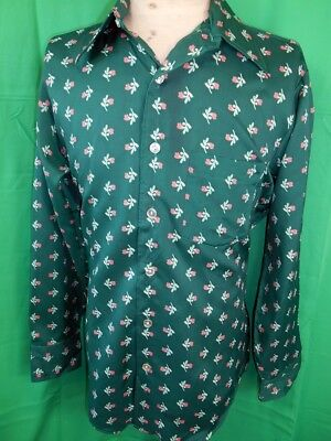 Vintage 70s Green Patterned Polyester Golden Arrow Disco Party Shirt L Groovy