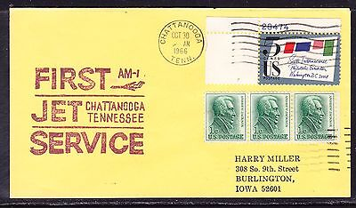 USA 1966 Chattanooga to  Newark AM1 Yellow Flight Cover - addressed