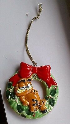 Vintage 1981 Enesco Garfield the Cat Jim Davis Christmas Wreath Ornament