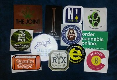 MMJ Edible Hash Company Lot Of 12 Stickers Colorado Dispensary Weed Marijuana