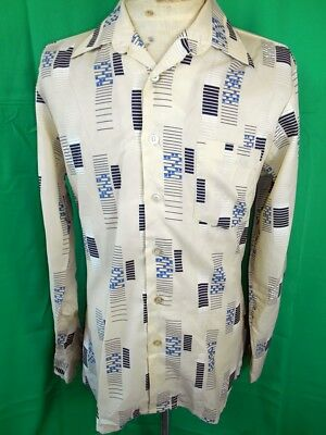 Vintage 1970s Beige Patterned Polyester Mario Ricci Disco Party Shirt M Groovy