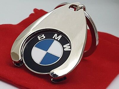 BMW Beemer Logo Keyring key chain with Red Velvet Gift Pouch [RKT] *TROLLEY COIN