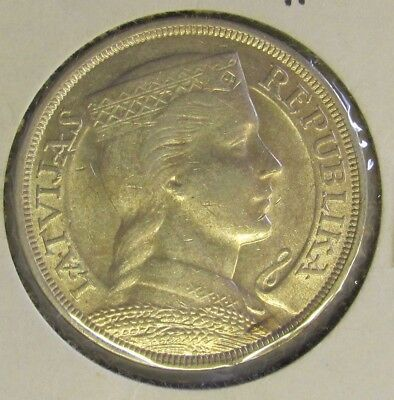 Latvia 5 Lati KM# 9 - 1929 LARGE SILVER COIN - UNCIRCULATED
