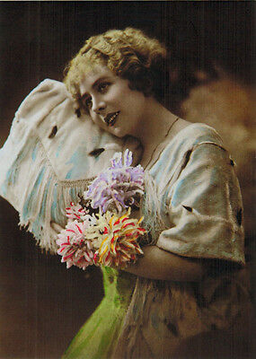 YOUNG WOMAN WITH FLOWERS Modern Russian postcard