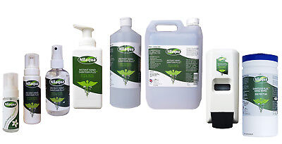 ALCOHOL FREE Nilaqua Hand Sanitiser 55ml 100ml 500ml 5Litre, Dispenser & Wipes