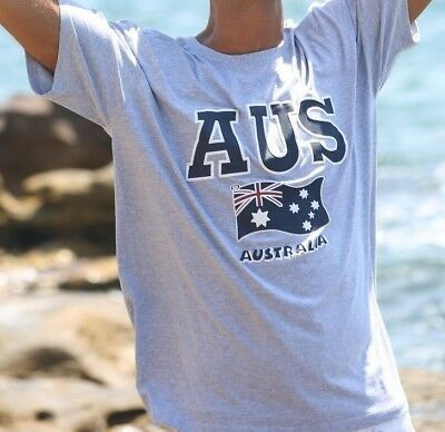 Unisex Souvenir T-shirt Cotton Australia Short Sleeve Top Tee AUSSIE Flag