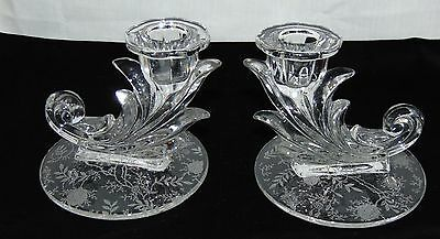 "Fostoria CHINTZ CRYSTAL *4"" CANDLESTICKS*PAIR**2496"