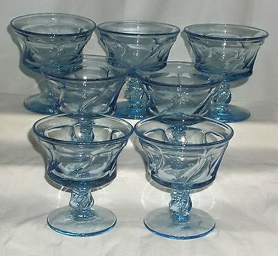 "7 Fostoria JAMESTOWN BLUE *4"" SHERBETS*"