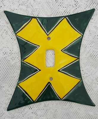Ceramic Hand Painted Geometric Single Toggle Switch Plate Green Yellow