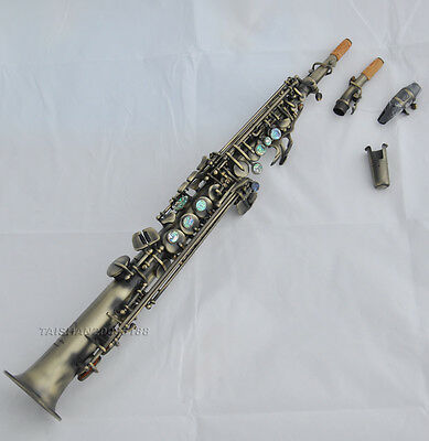 Customized Antique Bb Soprano Saxophone high F# saxofon abalone without G ky TOP