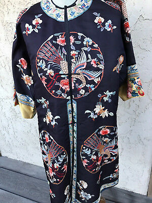 Antique Chinese kimono hand embroidered silk 1920s