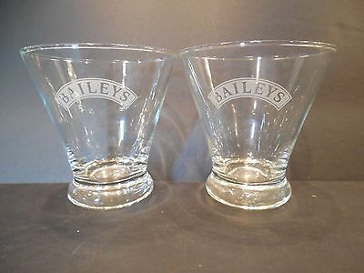 Two (2) Bailey's Etched Weighted Bottom Clear Flared Glass Cocktail Barware