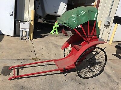 Chinese Rickshaw Red W/Green Canvas Top