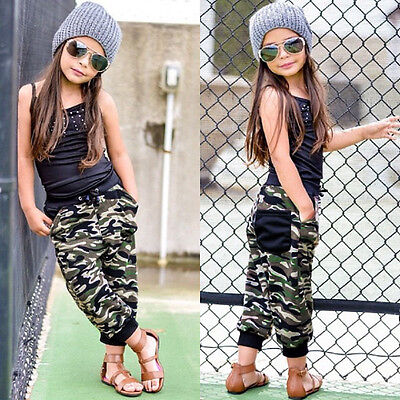 Toddler Kids Baby Girl Tops Shirt Tank+Camouflage Pants Outfits Clothes 2PCS Set