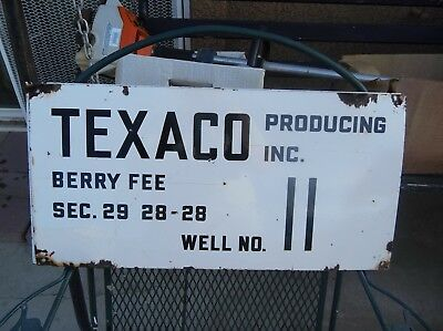 Nice Vintage Texaco Porcelain Oil Well Lease Gas Sign.