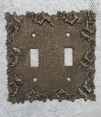 Vintage Ornate Floral Metal Brass Double Toggle Switch Plate Cover