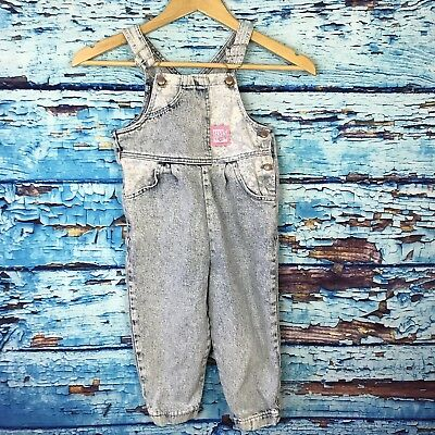 Girl's Vintage Little Levi's Light Acid Wash Overall Jeans Size 4T