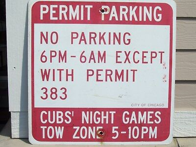 """Vintage Permit/No Parking Chicago Cubs/Wrigley Field Night Games 18"""" x 18'' Sign"""