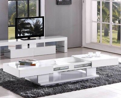 Coffee Table White Black Modern Storage Sliding Top Polyurethane Finish CT5