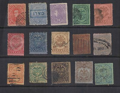 LJL Stamps: 15 Colombia Ancient Stamps 1886-1898, Mint/Used, Good Value Set