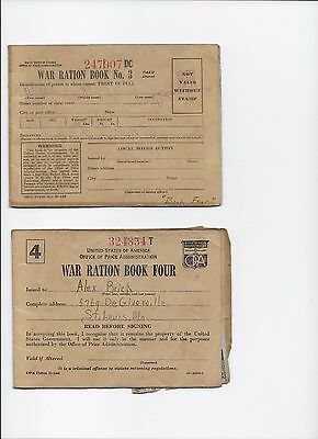 "Vintage "" WW II WAR RATION BOOK FOUR & BOOK THREE "" both with Stamps"