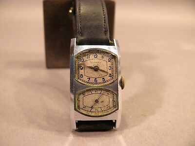 Vintage 1920s SIDNEY Art Deco RARE Double Dial Two-Face Mens Chrome Wristwatch