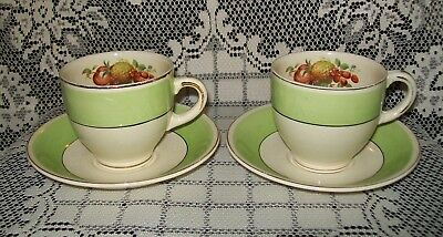 2 x VINTAGE GRINDLEY GREEN/CREAM DUO SETS (orchard fruit design) A/F