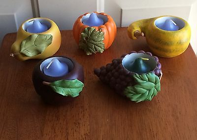 Partylite Set/5 Harvest Medley Candle Holders w/Votive Candles P7258 NEW