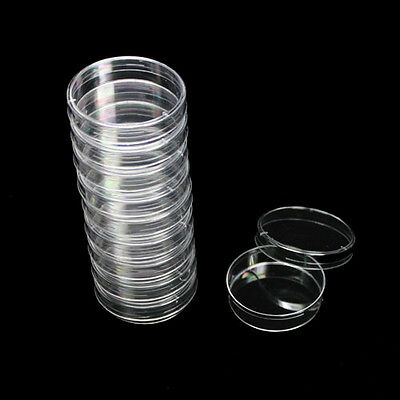 10pcs Disposable Sterile Polystyrene Plastic Petri Dishes Plate With Lid 60x13mm