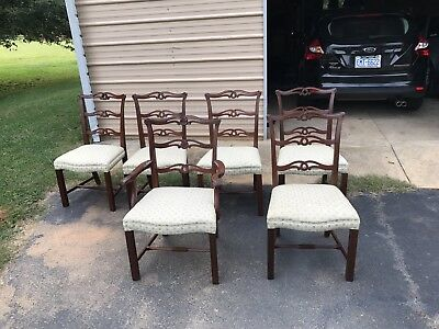 6 Baker Furniture Mahogany Chippendale Dining Chairs