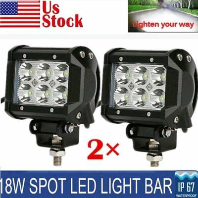 2pcs 18W CREE Square LED Work Light Bar Offroad Spot Fog ATV SUV Driving Lamp