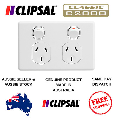 Clipsal C2000 series Classic 10A Double Powerpoint Twin Switch -  C2025 - White