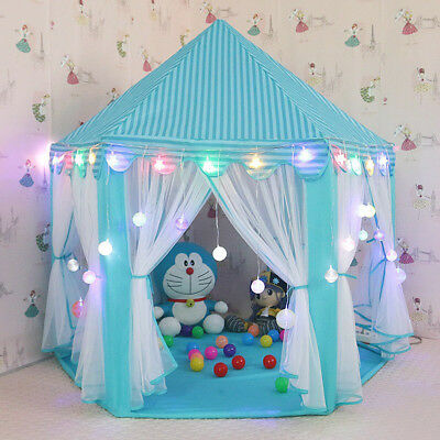 In/Outdoor Princess Castle House Children Fun Play Netting Kids Play Tent Blue