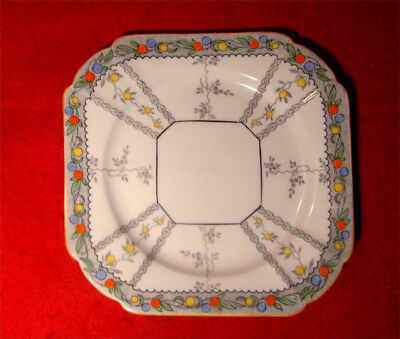 Vintage Shelley Queen Anne Fruit Border Square Salad Plate(S) Made In England