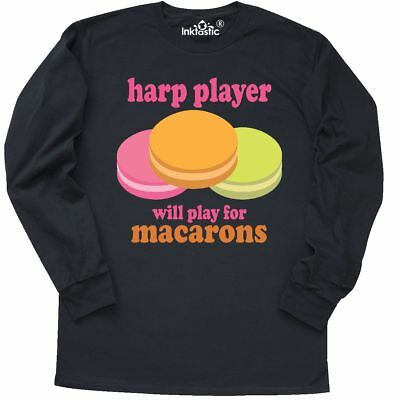 Inktastic Harp Player Macaron Long Sleeve T-Shirt Gift Retired Retirement Quote