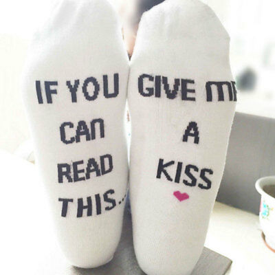 Cool If You Can Read This Give Me A Kiss Womens Mens Letter Print Casual Socks