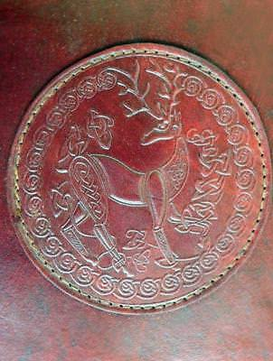 Celtic DEER - A5 Handmade Leather Journal Diary - Buckle Fastening