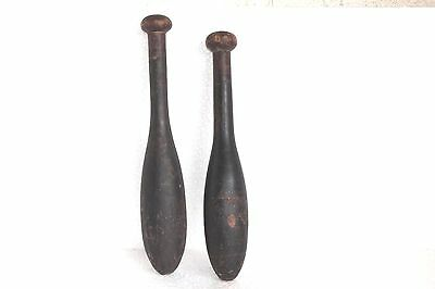 2 Pc Vintage Wooden Hand Carved Indian Washing Cloth Bat/Wand Collectible W51