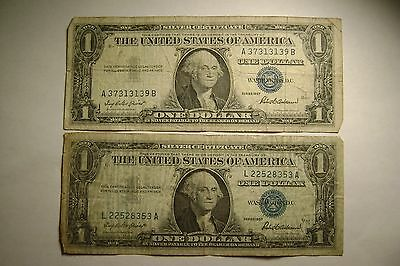 Lot of 2 US Silver Certificate Blue Seal $1 notes, 1957 Series, circulated