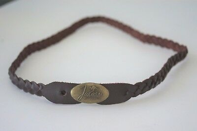 Genuine Brown Leather hat band Plaited with badge Australian made