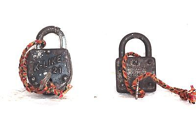 2 Pc Old Vintage Antique Iron Brass Lock and Key Home Decor Collectible S-92