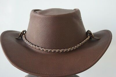 Brown braided leather hat band for JACARU  and other style hats HAT EXTRA