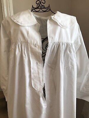Vintage Edwardian or Victorian White Cotton Nightdress with Lace trim