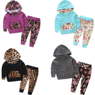 2PCS Toddler Baby Boys Girls Long Sleeve T-Shirt +Pants Set Kids Clothes Outfits