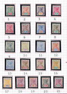Seychelles - 1890 - First QV Issues - SC 1-21 [SG 1-8,22-25,28-36] Mint - 17tf