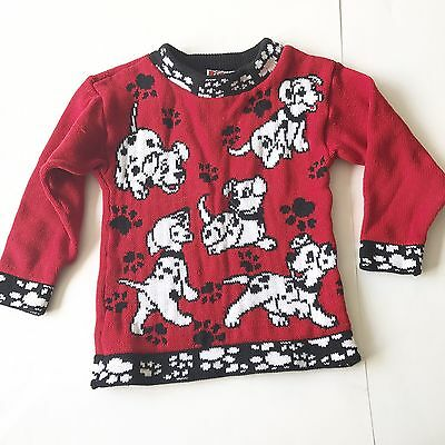 Vintage Disney's 101 Dalmatian Puppies Dog Sweater (No Size Tag) 2-4 Toddler
